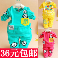 Baby sports set male female child child clothing clothes 0 - 1 - 2 years old 100% children's cotton autumn clothing 2013 fashion