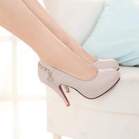 Spring fashion women's shoes platform thin heels high-heeled shoes rhinestone round toe single shoes