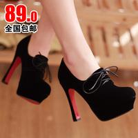 2013 autumn high-heeled shoes low-top women's shoes single shoes nubuck leather breathable platform lacing shoes