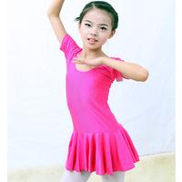Child dance clothes female short-sleeve leotard child one-piece dress one-piece dress dance clothes infant