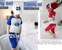 2013 summer children's clothing cotton rugby 100% baby child clothes male female child sports set