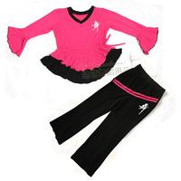 Child dance clothes leotard child Latin dance clothes autumn and winter long-sleeve set female child lycra cotton