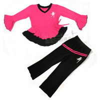 Child dance clothes leotard child Latin dance clothes autumn and winter long-sleeve set female child lycra cotton