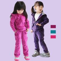 2013 children's autumn clothing child clothes child velvet cartoon female child sports set