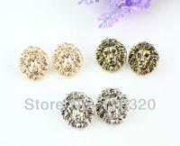 (Min order $10,Mix Order ) New Fashion Bronze/Gold/Silver/Metal Animal Lion Head Ear Stud Earrings