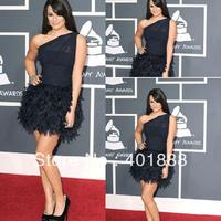 Elegant Short One Shoulder Feather Black Mature Cocktail Dress