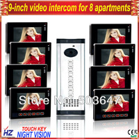 "8 households/apartments  9"" ultra-slim lcd video door phone doorbell door intercom"