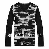 2013 new fashion unique stripes T-shirts for men,black and white Add wool thicken large size mens T-shirt,freeshipping,M-6XL,33