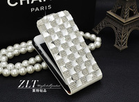 Fashion pattern for iphone4/4s/5 crocodile embossed leather - White Diamond