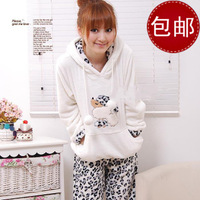 Free shipping Flannel thickening coral fleece sleepwear female cartoon animal one piece set leopard print winter lounge