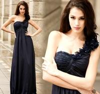Free shipping 2013 new dress brand design Goddess Womens one shoulder Maxi slim high waist evening dress full dress WQL0013