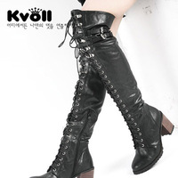 kvoll boots Lace jackboot thick with high-heeled leather buckle motorcycle boots Knight boots wholesale and retail Ms. Boots