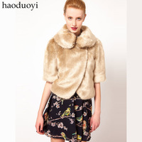 British style half sleeve short jacket fur collar