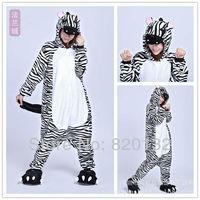 Free Shipping Zebra Unisex Adult Pajamas Animal Sleepwear Home Casual Costume Cosplay Costume Fleece Animal  Pajamas Hoodies