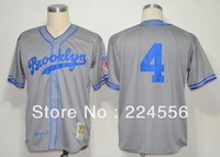 Cheap Los Angeles Dodgers #4 Babe Herman Grey throwback MN 1945 baseball jerseys wholesale,Can Mix order