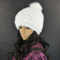 free shipping fashion winter hat knitted real mink fur many colors warm cap hot style white wholesales