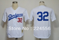 Los Angeles Dodgers #32 Sandy KOUFAX Cream Color 1955 M&N Home Throwback Cooperstown Baseball Jerseys.Size M-3XL,