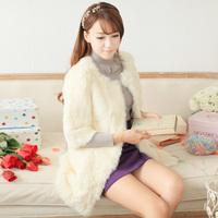 Mumuhome . small ladies medium-long rabbit fur o-neck fifth sleeve women's outerwear
