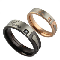 stainless steel cross rings for couple wedding ring with CZ stone