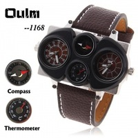 DY774-1 Oulm Military Double Clock Mechanism , Dual Monitor Wristwatches With Thermometer And Compass Watch For Men,