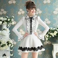 2014 women's clothing white flounced black ribbon bow bubble long-sleeved shirt