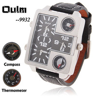 DY776-1 Oulm Military Double Clock Mechanism , Dual Monitor Wristwatches With Thermometer And Compass Watch For Men,