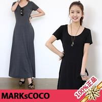 2013 women's summer plus size short sleeve length slim skirt basic one-piece dress