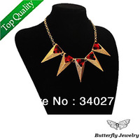 Vintage Punk Rivet Exaggerated Spike Triangle Necklace Fashion Acrylic Choker Necklace For Women