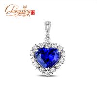 14k White Gold AAAAA 8.10ct Heart Shape Blue Tanzanite Diamond Sweet Pendant