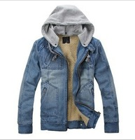 New Arrival Product 2013 Winter Men's Warm Denim Jacket Jeans Fur Inside Hooded Collar With A Hat For Man Size M to XXL