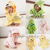 Retail 1 PCS Unisex Baby Animal Hooded Bathrobe Children Boys Girls Soft Plush Fleece Sleepwear Robe Kids Bath Towel