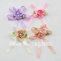 100 Pcs satin ribbon flowers bow w/leaf stone wedding sewing appliques DIY A0122