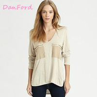 2013 New Brand Women's Beige t Shirt V-neck Pocket  Fashion XS S M L XL XXL T Shirt for Women DF-00007
