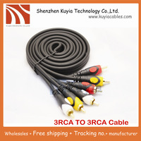 Free shipping+ 30FT 10M 100%High quality 3 RCA to RCA 3RCA Composite Audio Video Male-Male AV Cable Plug