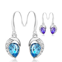 Angel's tears Crystal Silver Earrings Silver style Anti allergic