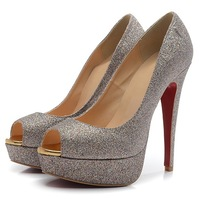 New fashion 14CM gold color high heels platform pumps for women red bottom shoes with thin heels