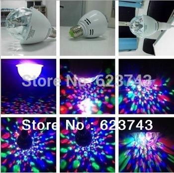 Free Shipping 3W Colorful Rotating RGB LED Bulb lamp 3 watts LED Light spotlight Bulb Lamp Flash Stage Christmas Party