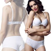 women's bra Super soft lace decoration comfortable bra set summer thin breathable underwear sexy temptation WHITE bra&brief set