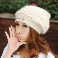 Rabbit fur hat women's autumn and winter yarn beret hat female winter ear protector cap winter hat