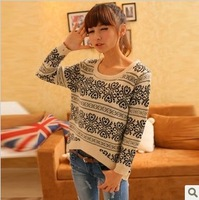 Promotion !! Free shipping Vintage 2013 o-neck long-sleeve pullover sweater female sweater outerwear
