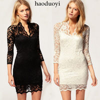 Haoduoyi fashion royal lace decoration slim waist sexy beautiful V-neck one-piece dress 2 6 full