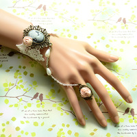 Freeshipping Beauty head fashion royal rose vintage lace bracelet ring one piece chain ball accessories  1pc