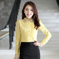 2013 Hitz long-sleeved chiffon shirt women's clothing fashion doll white shirt blouse career shirt collar bottoming shirt