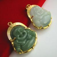 Pendant 18k gold jade buddha pendant Men women's natural jade