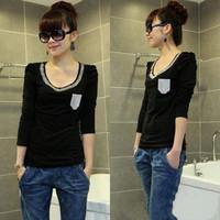 bust 120cm Plus size clothing autumn mm long-sleeve T-shirt metal ring bling Large basic shirt