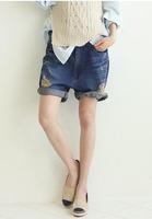 xxl waist 86cm hip 112cm 110cm women's loose plus size roll-up hem high waist denim shorts female harem pants