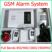 New Arrival- 850/900/1800/1900MHZ Wireless and wired home GSM alarm system LCD dispaly Free Shipping!