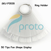 10se/lot 50 tips Fan-Shaped Nail Art Display Fan with Ring Handle Clear Chart for Polish Gel Display Tool SKU:F0028XXFree Shippi