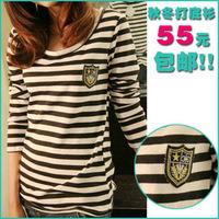 3xl bust 118cm 110cm plus size clothing autumn and winter o-neck basic shirt female mm badge stripe long-sleeve T-shirt loose