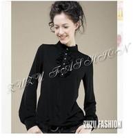 6xl 5xl 4xl bust 150 Autumn winter plus size t-shirt women's sleeve pearl button lantern sleeve top